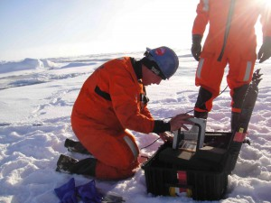Peter Koski setting up a broadband acoustic recorder during a 2010 cruise to the Fram Strait aboard the Norwegian Coast Guard ice breaker KV Svalbard.